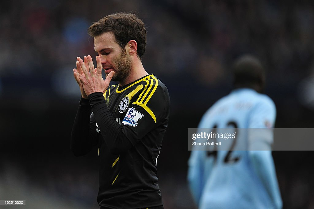 Juan Mata of Chelsea shows his frustration during the Barclays Premier League match between Manchester City and Chelsea at Etihad Stadium on February 24, 2013 in Manchester, England.