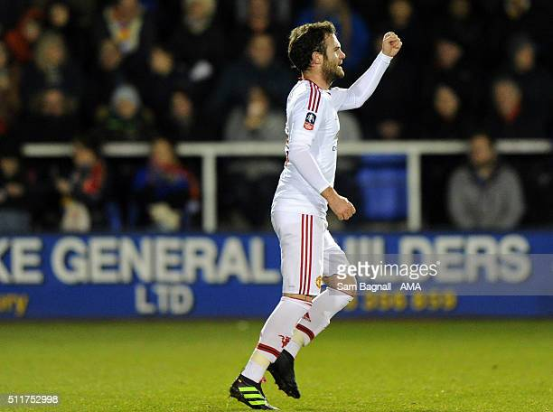 Juan Mata of Manchester United celebrates after scoring a goal to make it 02 during the Emirates FA Cup match between Shrewsbury Town and Manchester...