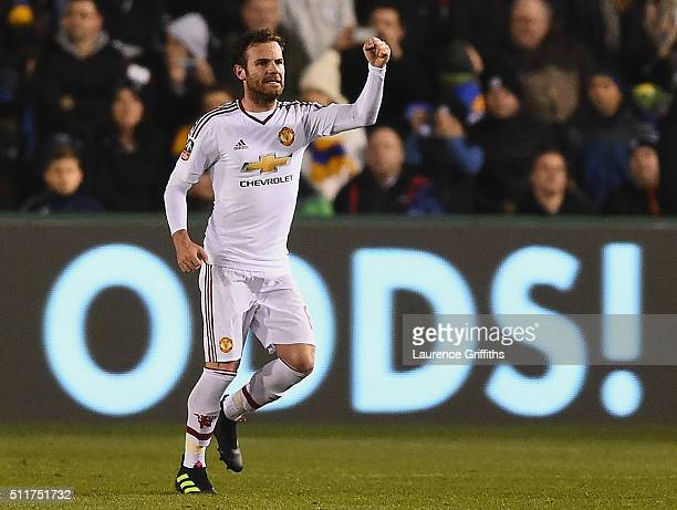 Juan Mata of Manchester United celebrates as he scores their second goal from a free kick during the Emirates FA Cup fifth round match between...