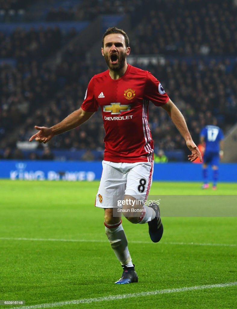 Juan Mata of Manchester United celebrates as he scores their third goal during the Premier League match between Leicester City and Manchester United at The King Power Stadium on February 5, 2017 in Leicester, England.