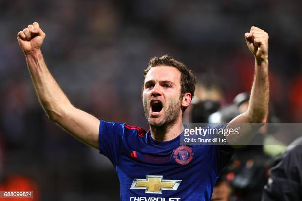 Juan Mata of Manchester United celebrates following the UEFA Europa League Final match between Ajax and Manchester United at Friends Arena on May 24...