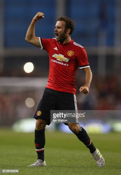 Juan Mata of Manchester United celebrates scoring a goal during the International Champions Cup match between Manchester United and Sampdoria at...