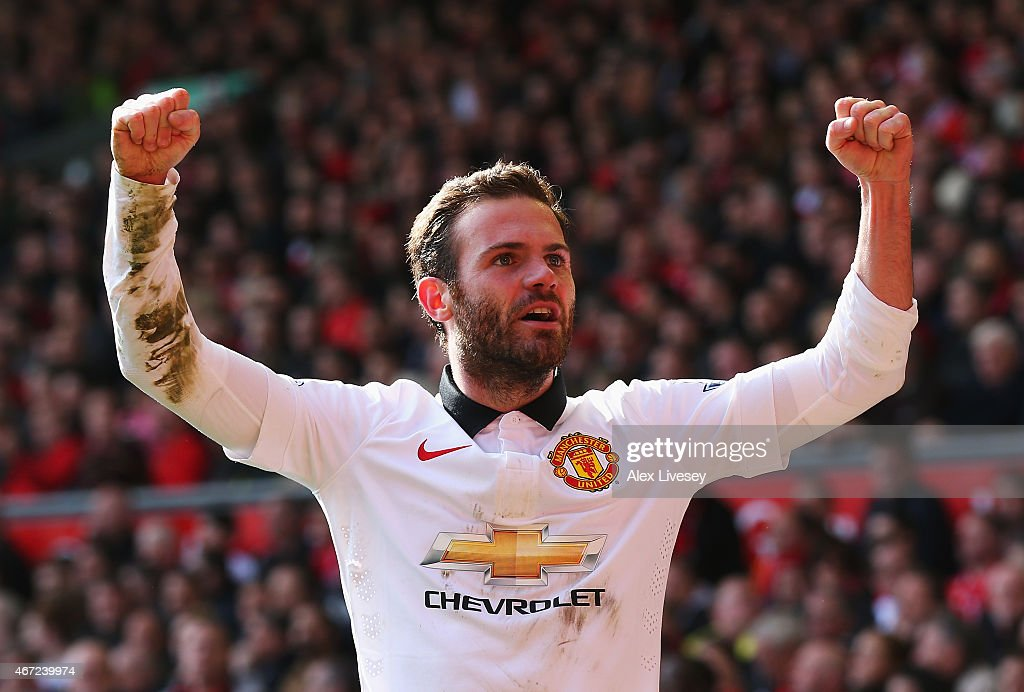 <a gi-track='captionPersonalityLinkClicked' href=/galleries/search?phrase=Juan+Mata&family=editorial&specificpeople=4784696 ng-click='$event.stopPropagation()'>Juan Mata</a> of Manchester United celebrates scoring his second goal during the Barclays Premier League match between Liverpool and Manchester United at Anfield on March 22, 2015 in Liverpool, England.