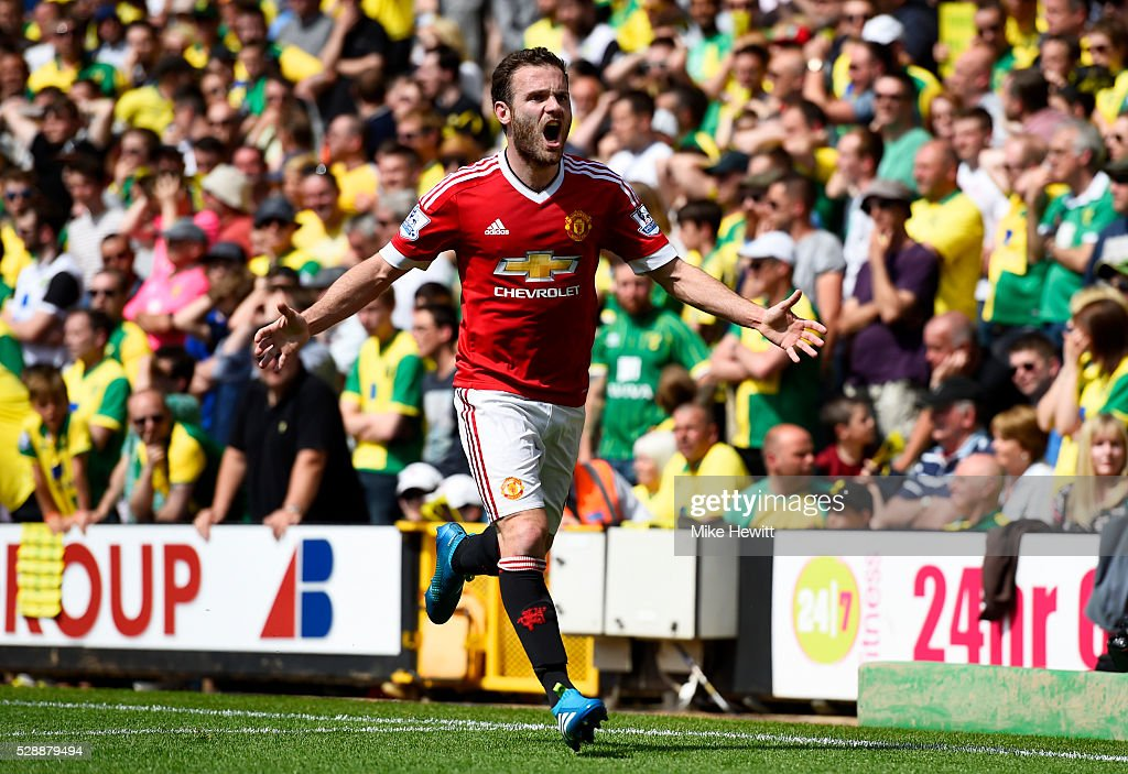 <a gi-track='captionPersonalityLinkClicked' href=/galleries/search?phrase=Juan+Mata&family=editorial&specificpeople=4784696 ng-click='$event.stopPropagation()'>Juan Mata</a> of Manchester United celebrates scoring his team's first goal during the Barclays Premier League match between Norwich City and Manchester United at Carrow Road on May 7, 2016 in Norwich, England.