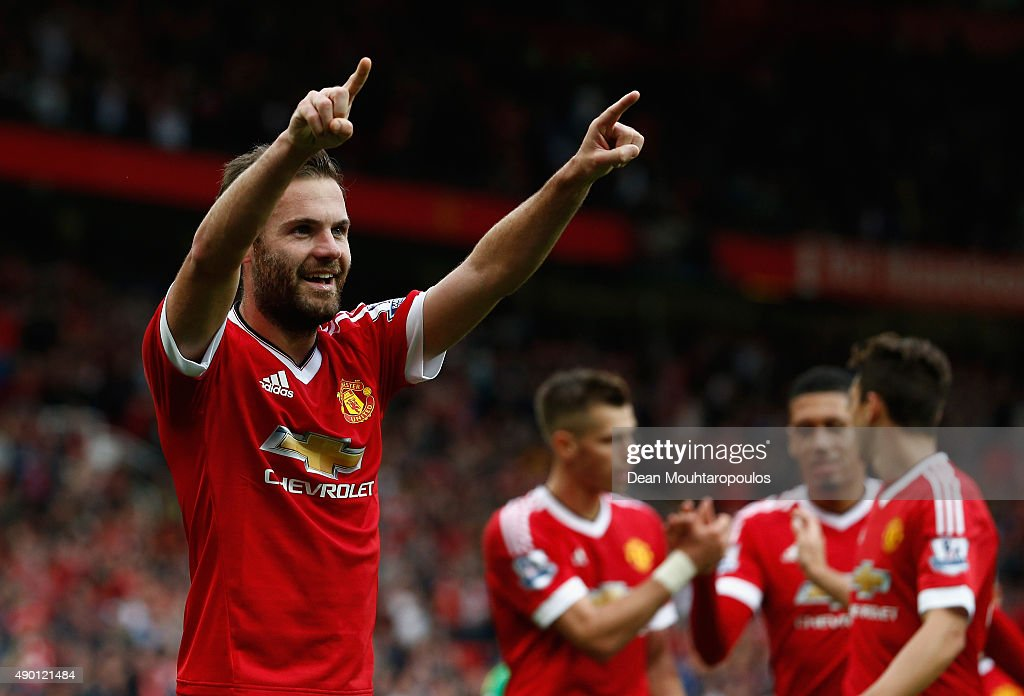<a gi-track='captionPersonalityLinkClicked' href=/galleries/search?phrase=Juan+Mata&family=editorial&specificpeople=4784696 ng-click='$event.stopPropagation()'>Juan Mata</a> of Manchester United celebrates scoring his team's third goal during the Barclays Premier League match between Manchester United and Sunderland at Old Trafford on September 26, 2015 in Manchester, United Kingdom.