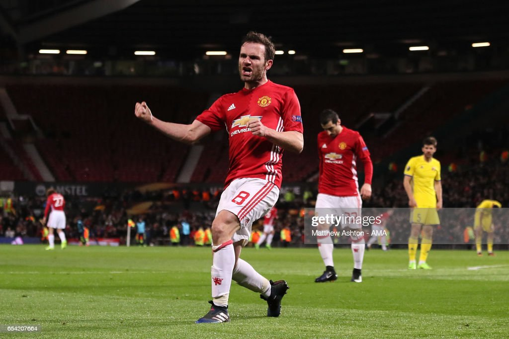 Juan Mata of Manchester United celebrates scoring the first goal which made the score 1-0 during the UEFA Europa League Round of 16 second leg match between Manchester United and FK Rostov at Old Trafford on March 16, 2017 in Manchester, United Kingdom.