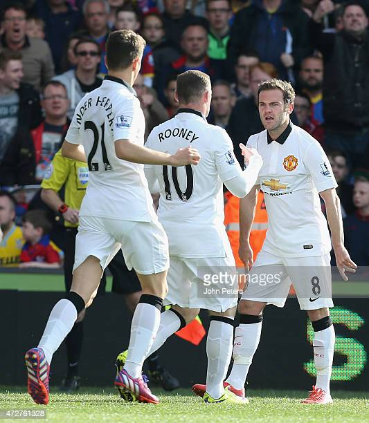 Juan Mata of Manchester United celebrates scoring their first goal during the Barclays Premier League match between Crystal Palace and Manchester...