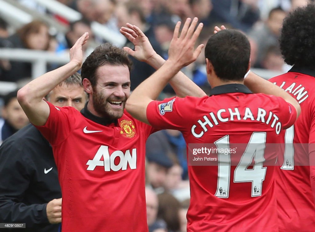 Juan Mata of Manchester United celebrates scoring their first goal during the Barclays Premier League match between Newcastle United and Manchester United at St James' Park on April 5, 2014 in Newcastle upon Tyne, England.