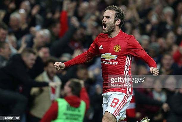 Juan Mata of Manchester United celebrates scoring their first goal during the EFL Cup Fourth Round match between Manchester United and Manchester...