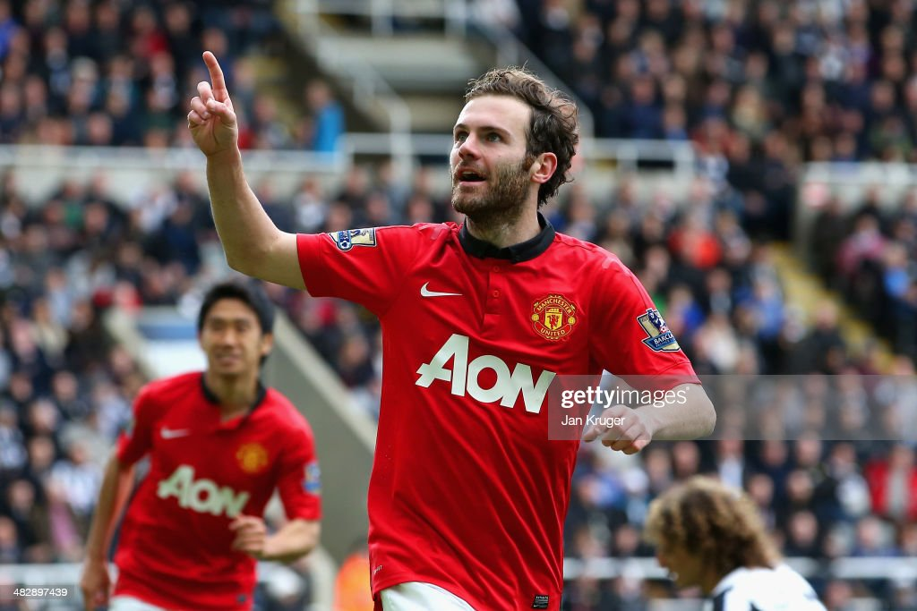 <a gi-track='captionPersonalityLinkClicked' href=/galleries/search?phrase=Juan+Mata&family=editorial&specificpeople=4784696 ng-click='$event.stopPropagation()'>Juan Mata</a> of Manchester United celebrates scoring their second goal during the Barclays Premier League match between Newcastle United and Manchester United at St James' Park on April 5, 2014 in Newcastle upon Tyne, England.