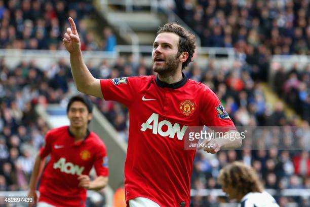 Juan Mata of Manchester United celebrates scoring their second goal during the Barclays Premier League match between Newcastle United and Manchester...