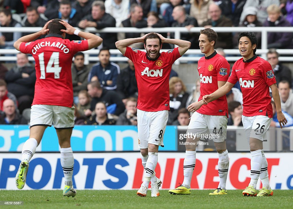 Juan Mata of Manchester United celebrates scoring their second goal during the Barclays Premier League match between Newcastle United and Manchester United at St James' Park on April 5, 2014 in Newcastle upon Tyne, England.