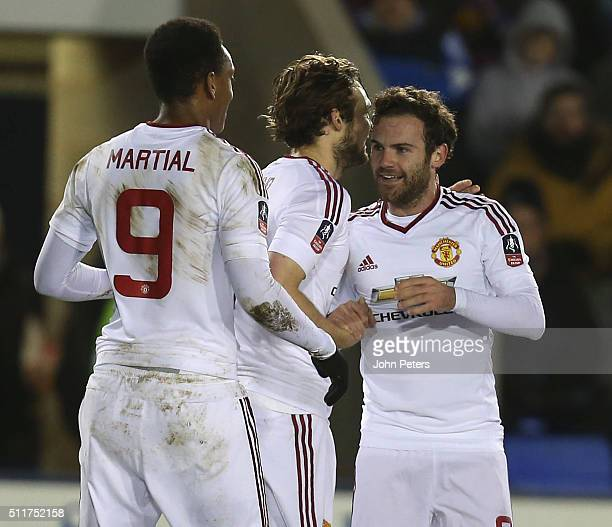 Juan Mata of Manchester United celebrates scoring their second goal during the Emirates FA Cup Fifth Round match between Shrewsbury Town and...
