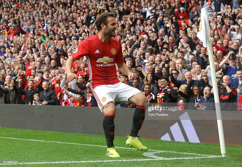 Juan Mata of Manchester United celebrates scoring their second goal during the Premier League match between Manchester United and Leicester City at Old Trafford on September 24, 2016 in Manchester, England.