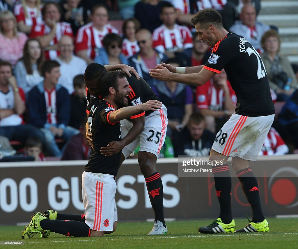 Juan Mata of Manchester United celebrates scoring their third goal during the Barclays Premier League match between Southampton and Manchester United on September 20, 2015 in Southampton, United Kingdom.