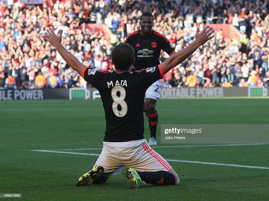 <a gi-track='captionPersonalityLinkClicked' href=/galleries/search?phrase=Juan+Mata&family=editorial&specificpeople=4784696 ng-click='$event.stopPropagation()'>Juan Mata</a> of Manchester United celebrates scoring their third goal during the Barclays Premier League match between Southampton and Manchester United on September 20, 2015 in Southampton, United Kingdom.