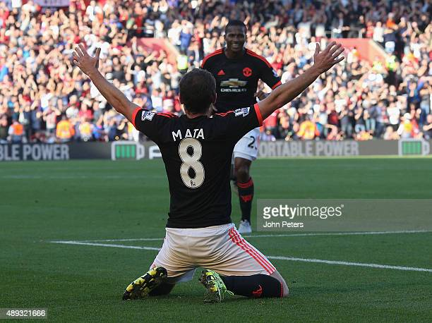 Juan Mata of Manchester United celebrates scoring their third goal during the Barclays Premier League match between Southampton and Manchester United...