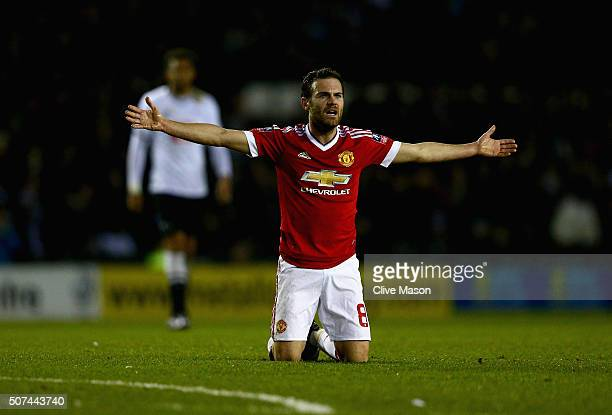 Juan Mata of Manchester United gesticulates to the referee during the Emirates FA Cup fourth round match between Derby County and Manchester United...