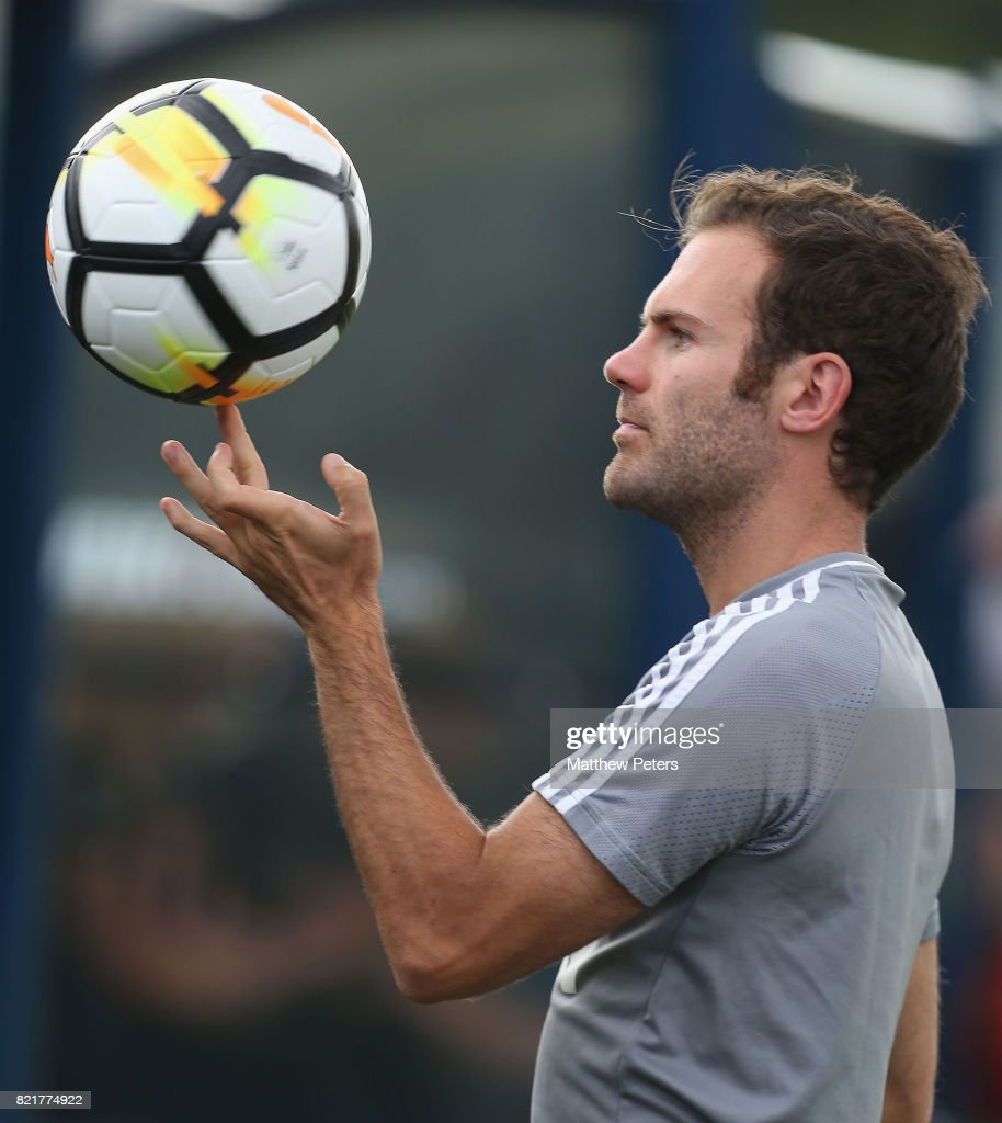 Juan Mata of Manchester United in action during a first team training session as part of their pre-season tour of the USA at Shaw Field on July 24, 2017 in Washington, DC.