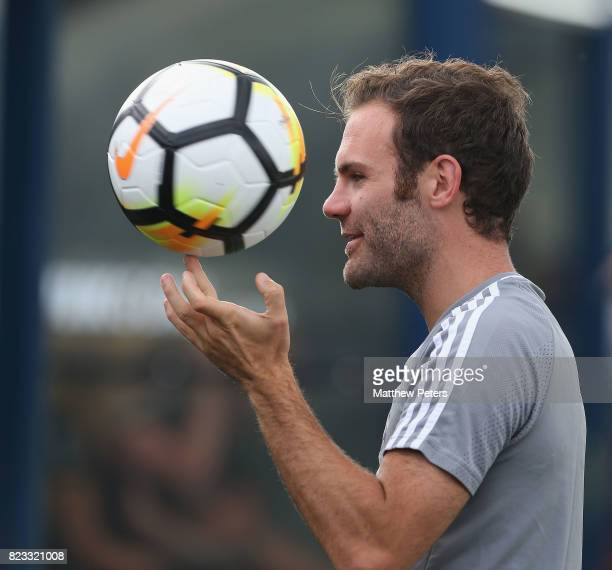 Juan Mata of Manchester United in action during a first team training session as part of their preseason tour of the USA at Shaw Field on July 24...
