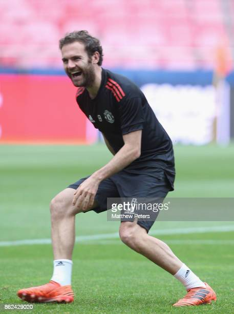 Juan Mata of Manchester United in action during a training session ahead of their UEFA Champions League match against Benfica on October 17 2017 in...