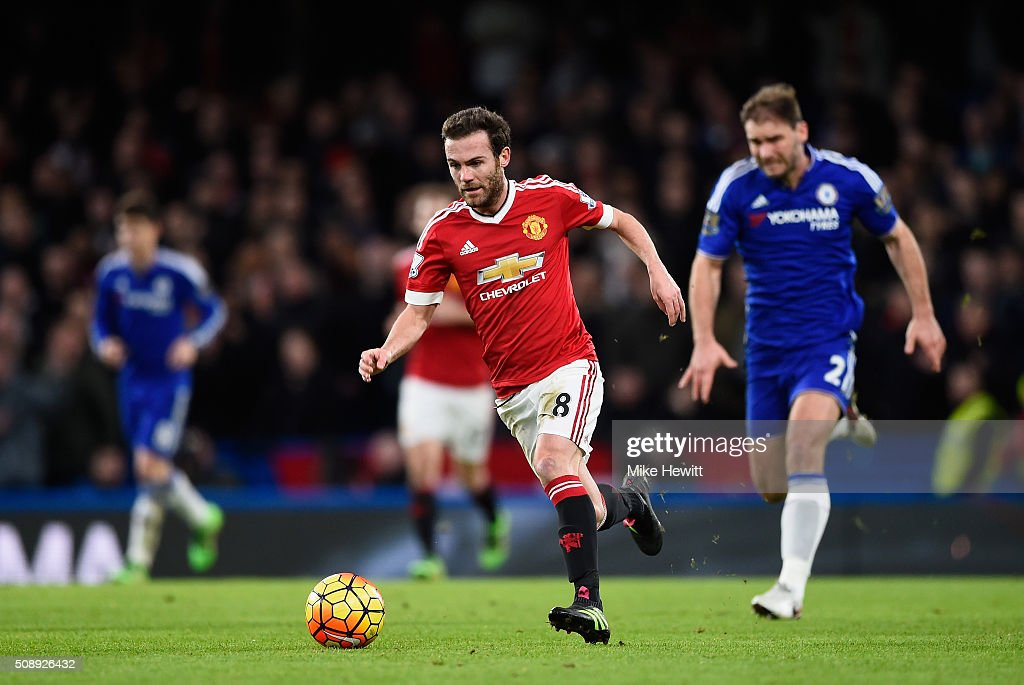 <a gi-track='captionPersonalityLinkClicked' href=/galleries/search?phrase=Juan+Mata&family=editorial&specificpeople=4784696 ng-click='$event.stopPropagation()'>Juan Mata</a> of Manchester United in action during the Barclays Premier League match between Chelsea and Manchester United at Stamford Bridge on February 7, 2016 in London, England.