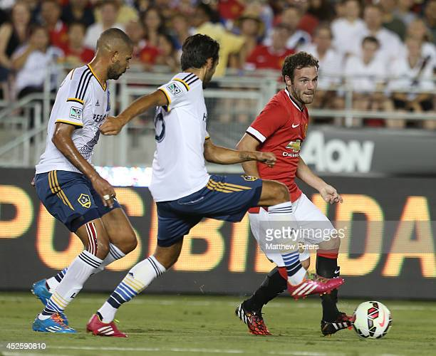 Juan Mata of Manchester United in action during the preseason friendly match between LA Galaxy and Manchester United at Rose Bowl on July 23 2014 in...