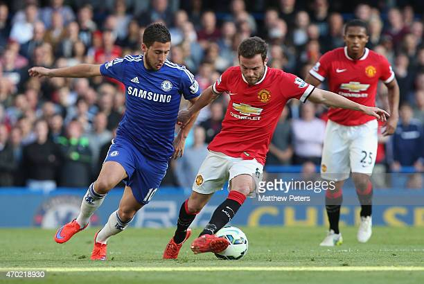 Juan Mata of Manchester United in action with Eden Hazard of Chelsea during the Barclays Premier League match between Chelsea and Manchester United...