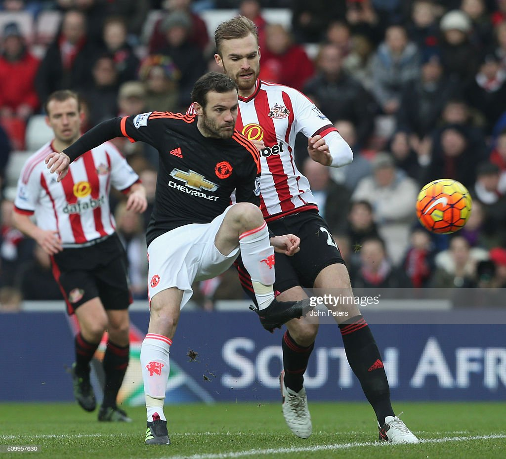 <a gi-track='captionPersonalityLinkClicked' href=/galleries/search?phrase=Juan+Mata&family=editorial&specificpeople=4784696 ng-click='$event.stopPropagation()'>Juan Mata</a> of Manchester United in action with Jan Kirchhoff of Sunderland during the Barclays Premier League match between Sunderland and Manchester United at Stadium of Light on February 13, 2016 in Sunderland, England.