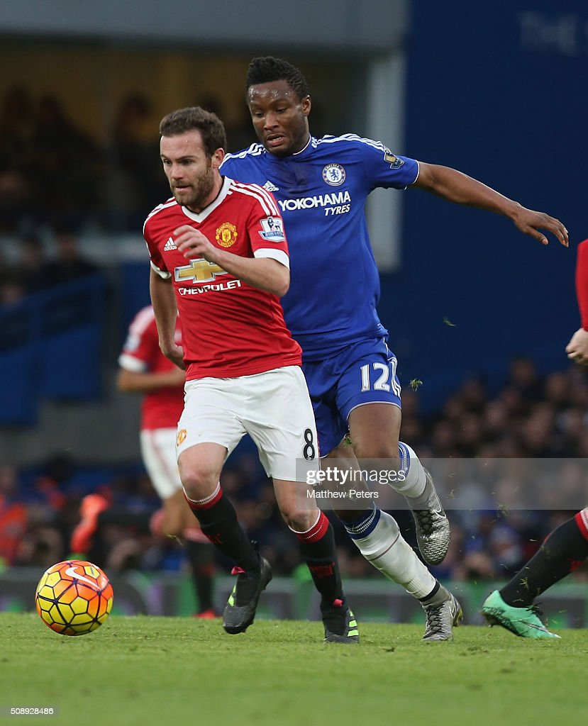 <a gi-track='captionPersonalityLinkClicked' href=/galleries/search?phrase=Juan+Mata&family=editorial&specificpeople=4784696 ng-click='$event.stopPropagation()'>Juan Mata</a> of Manchester United in action with Jon Obi Mikel of Chelsea during the Barclays Premier League match between Chelsea and Manchester United at Stamford Bridge on February 7 2016 in London, England.