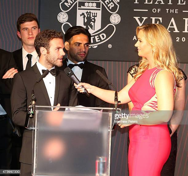 Juan Mata of Manchester United is interviewed by host Hayley McQueen during the Manchester United Player of the Year awards at Old Trafford on May 19...