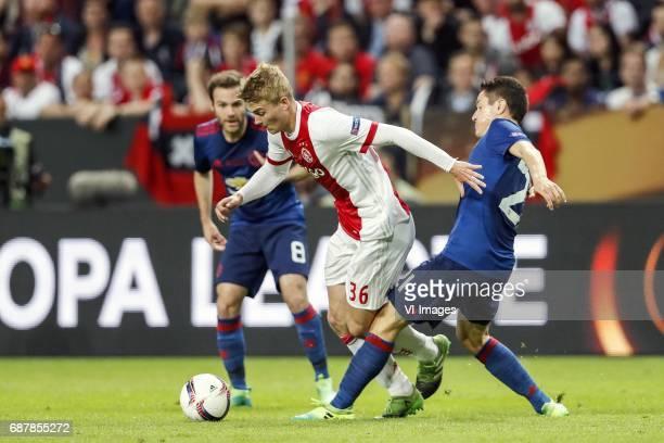 Juan Mata of Manchester United Matthijs de Ligt of Ajax Ander Herrera of Manchester Unitedduring the UEFA Europa League final match between Ajax...