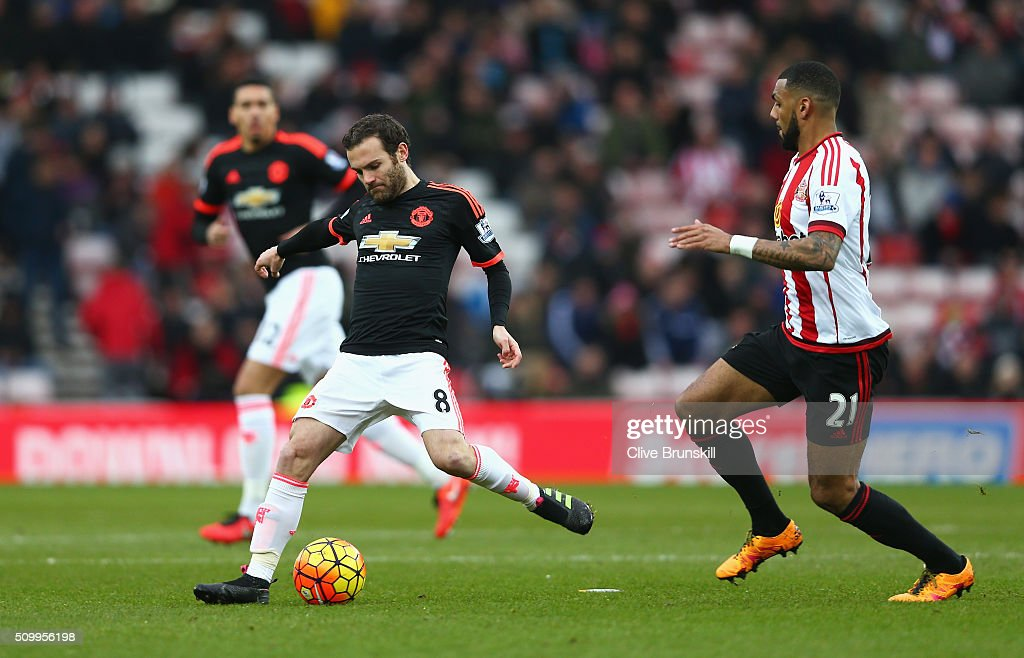 <a gi-track='captionPersonalityLinkClicked' href=/galleries/search?phrase=Juan+Mata&family=editorial&specificpeople=4784696 ng-click='$event.stopPropagation()'>Juan Mata</a> of Manchester United passes the ball during the Barclays Premier League match between Sunderland and Manchester United at the Stadium of Light on February 13, 2016 in Sunderland, England.