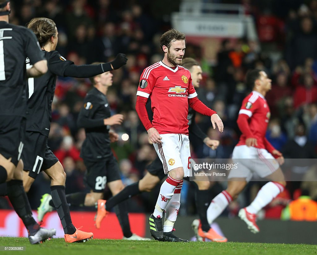 Juan Mata of Manchester United reacts to having a penalty saved during the UEFA Europa League match between Manchester United and FC Midtjylland at Old Trafford on February 25, 2016 in Manchester, United Kingdom.