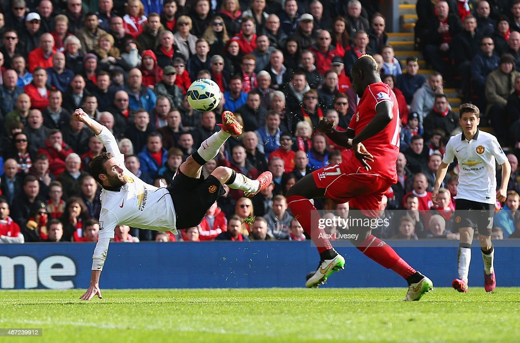 Juan Mata of Manchester United scores his second goal during the Barclays Premier League match between Liverpool and Manchester United at Anfield on March 22, 2015 in Liverpool, England.