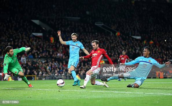 Juan Mata of Manchester United scores the second goal to make the score 20 during the UEFA Europa League match between Manchester United FC and...