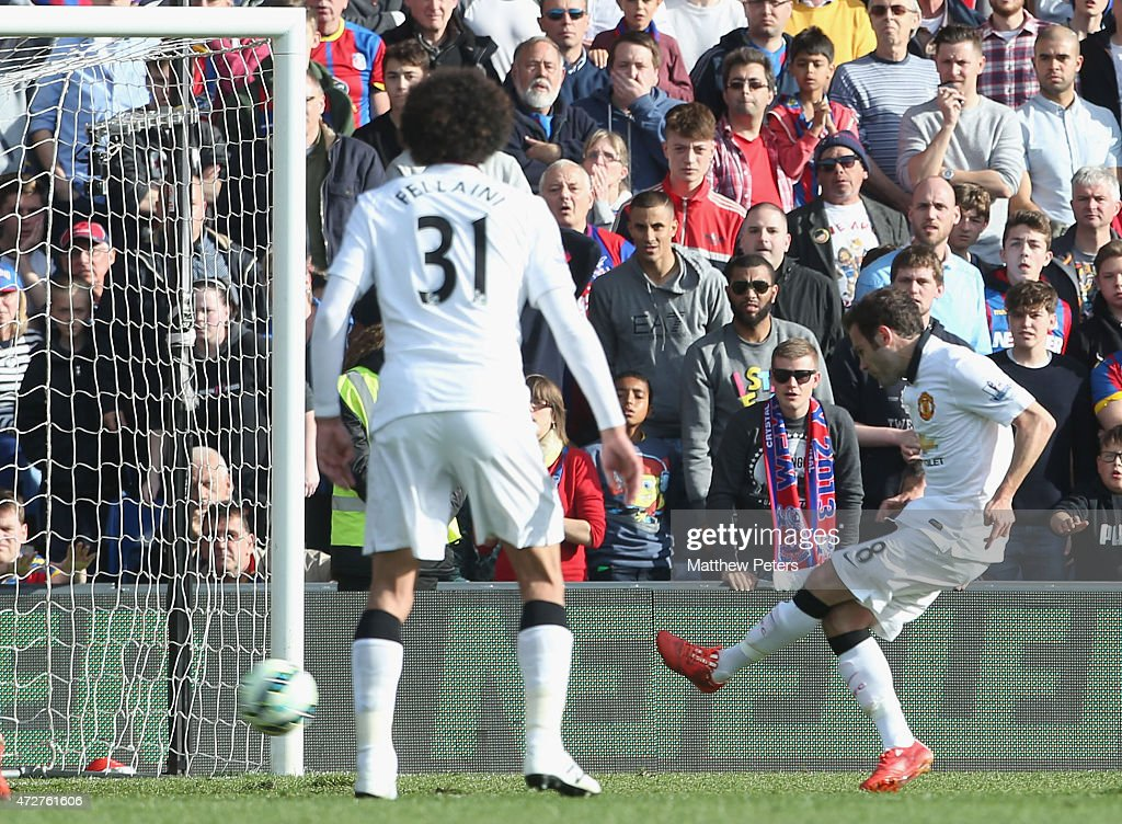 Juan Mata of Manchester United scores their first goal during the Barclays Premier League match between Crystal Palace and Manchester United at Selhurst Park on May 9, 2015 in London, England.