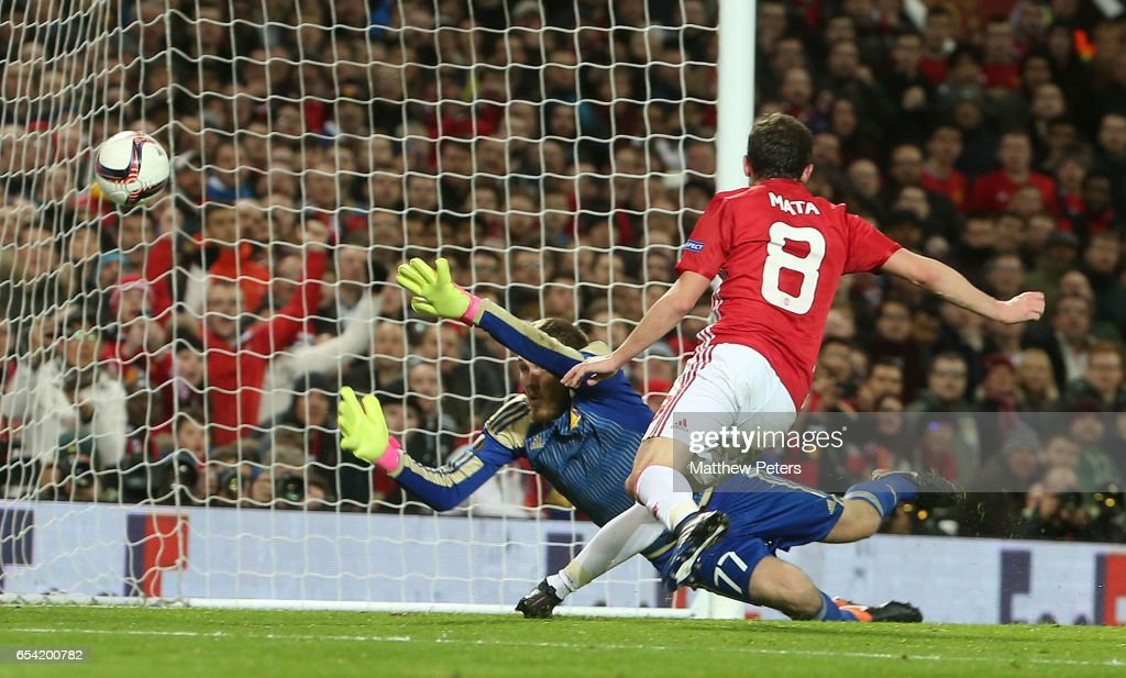 Juan Mata of Manchester United scores their first goal during the UEFA Europa League Round of 16 second leg match between Manchester United and FK Rostov at Old Trafford on March 16, 2017 in Manchester, United Kingdom.