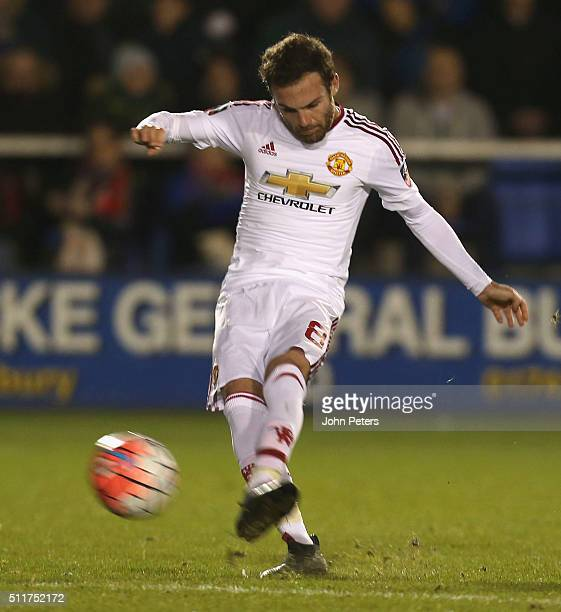 Juan Mata of Manchester United scores their second goal during the Emirates FA Cup Fifth Round match between Shrewsbury Town and Manchester United at...