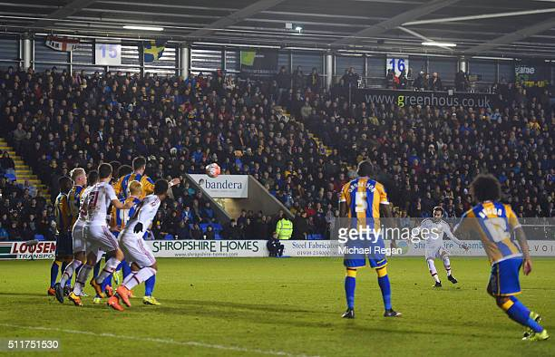 Juan Mata of Manchester United scores their second goal from a free kick during the Emirates FA Cup fifth round match between Shrewsbury Town and...