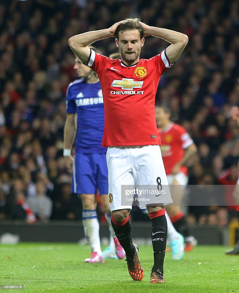 Juan Mata of Manchester United shows his disappointment during the Barclays Premier League match between Manchester United and Chelsea at Old Trafford on October 26, 2014 in Manchester, England.