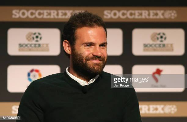Juan Mata of Manchester United smiles during day 2 of the Soccerex Global Convention at Manchester Central Convention Complex on September 5 2017 in...
