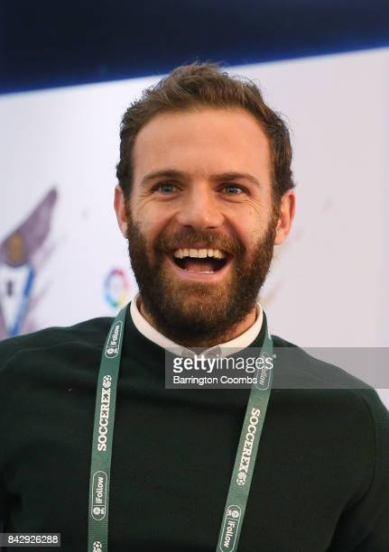 Juan Mata of Manchester United smiles in the La Liga lounge during day 2 of the Soccerex Global Convention at Manchester Central Convention Complex...
