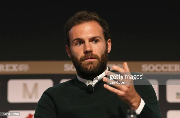 Juan Mata of Manchester United talks during day 2 of the Soccerex Global Convention at Manchester Central Convention Complex on September 5 2017 in...
