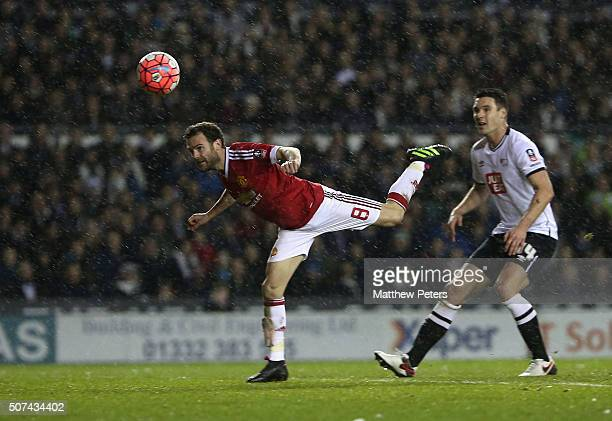 Juan Mata of Manchester United watches a header go wide during the Emirates FA Cup Fourth Round match between Derby County and Manchester United at...