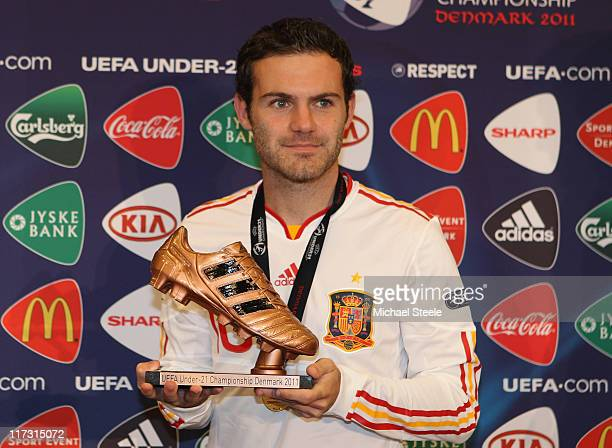 Juan Mata of Spain receives the bronze boot after the UEFA European Under21 Championship Final match between Spain and Switzerland at the Arhus...