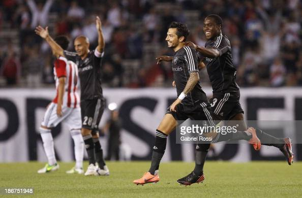 Juan Menseguez and Eder Alvarez Balanta of River Plate celebrate a goal during a match between River Plate and Estudiantes as part of Torneo Inicial...