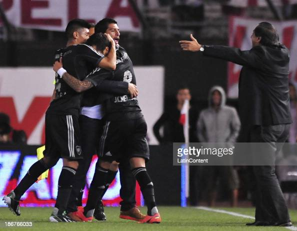 Juan Menseguez of River Plate celebrates a scored goal during a match between River Plate and Estudiantes as part of Torneo Inicial at Antonio...
