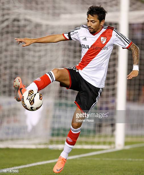 Juan Menseguez of River Plate in action during a match between River Plate and Lanus as part of Copa Total Sudamericana at Antonio Vespucio Liberti...