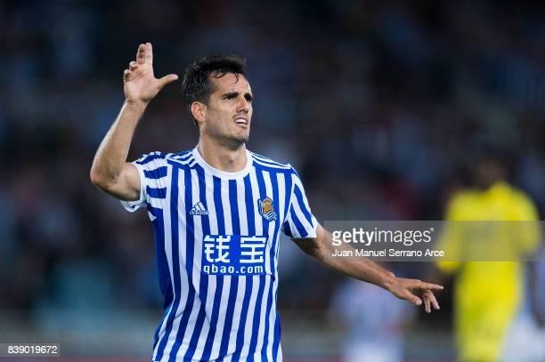 Juan Miguel Jimenez 'Juanmi' of Real Sociedad celebrates after scoring his team's third goal during during the La Liga match between Real Sociedad de...